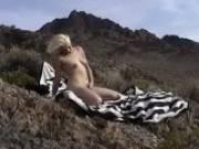 Beauty blonde amateur stunner masturbating slick pussy outdoors