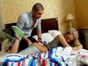 Blonde teenage seductress Rita sucking a giant penis and getting pussy fingered