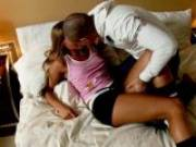 Tanned blonde teenage lover Amelia making love with her boyfriend in the bedroom