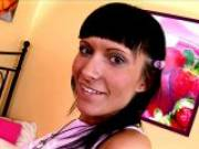 Lovely brunette Russian teen bitch Lusiya showing her sexy pierced tongue